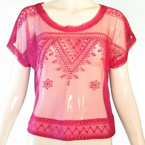 Free People Embroidered Pink Crop